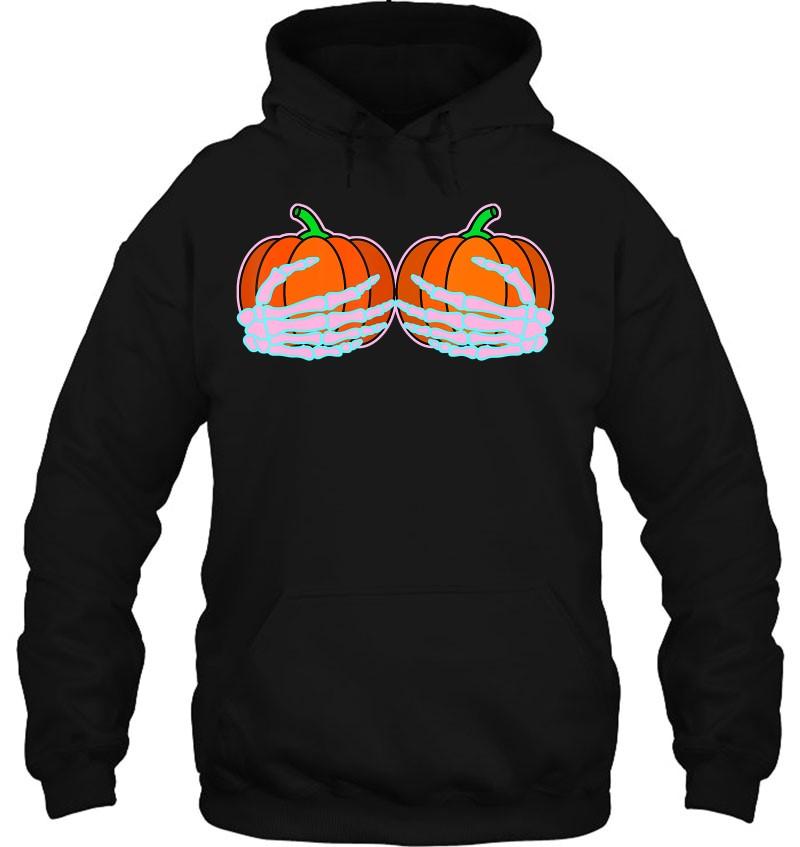Halloween Boob, Skeleton Hand Pumpkin Boobs, Funny Women