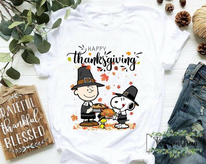 Happy Thanksgiving Shirt Thanksgiving Snoopy Charlie Brown T-shirt Peanuts Holiday Fall Season Funny Thanksgiving Gift For Men Women