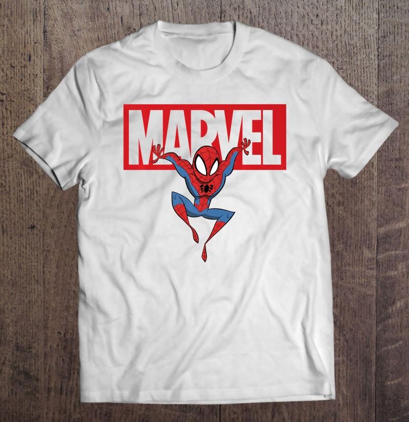 Marvel Spider-Man Chibi Action Pose Logo Outline Premium